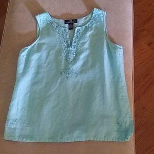 Linen blend pullover top